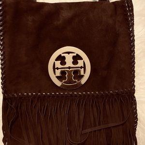 Vintage Tory Burch Brown Suede Messenger Bag